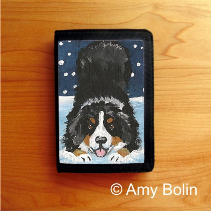 TRIFOLD WALLET · LET'S PLAY   · BERNESE MOUNTAIN DOG    · AMY BOLIN