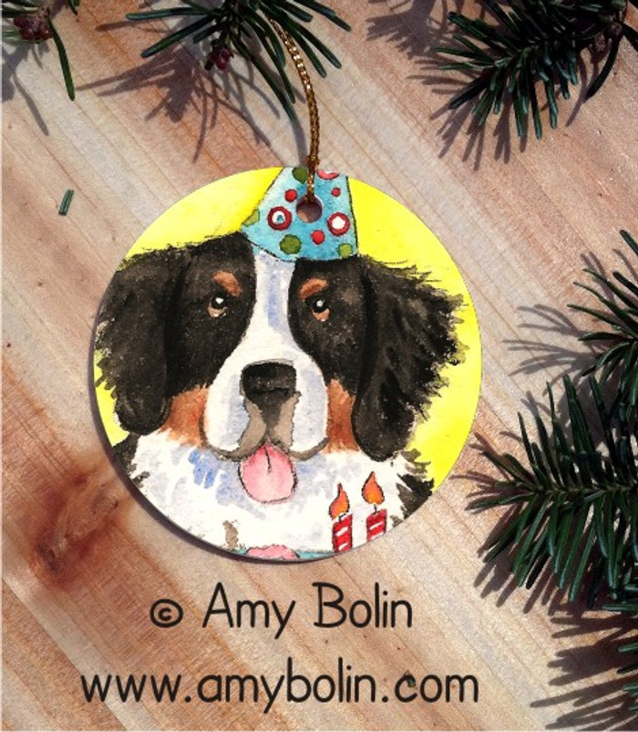 CERAMIC ORNAMENT · HAPPY BIRTHDAY TO YOU · BERNESE MOUNTAIN DOG · AMY BOLIN