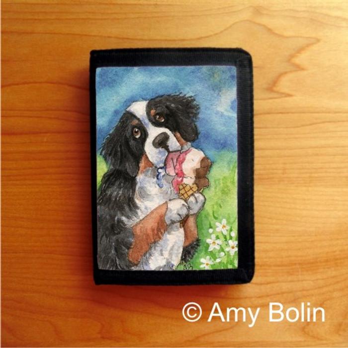 TRIFOLD WALLET · MAKE MINE NEAPOLITAN   · BERNESE MOUNTAIN DOG & SAINT    · AMY BOLIN