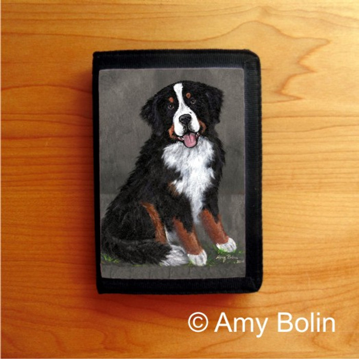 TRIFOLD WALLET · MERLIN   · BERNESE MOUNTAIN DOG & SAINT    · AMY BOLIN