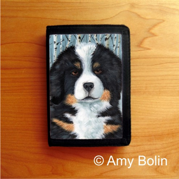 TRIFOLD WALLET · PUPPY EYES    · BERNESE MOUNTAIN DOG    · AMY BOLIN