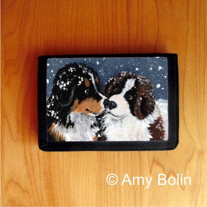TRIFOLD WALLET · PUPPY KISSES    · BERNESE MOUNTAIN DOG    · AMY BOLIN