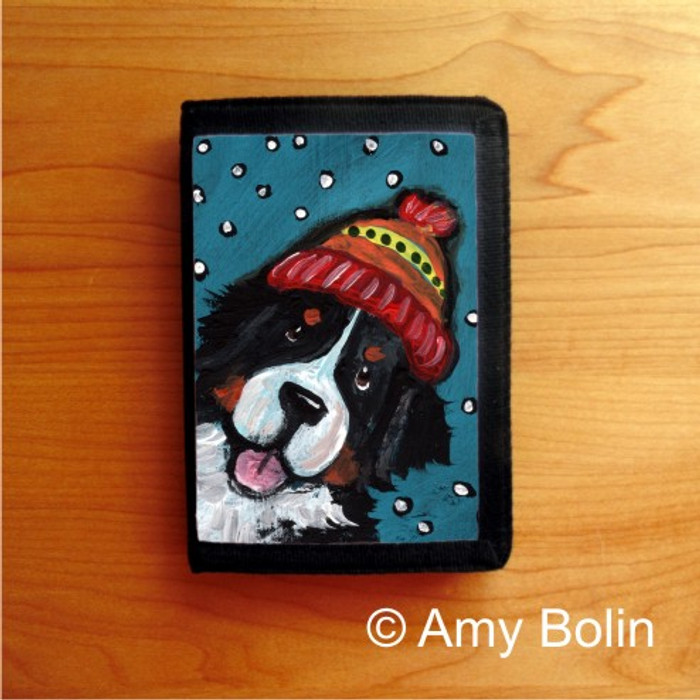 TRIFOLD WALLET · SNOWY WEATHER  · BERNESE MOUNTAIN DOG    · AMY BOLIN