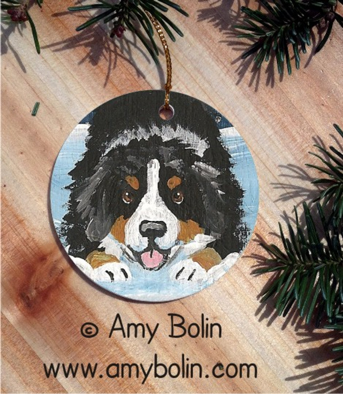 CERAMIC ORNAMENT · LET'S PLAY · BERNESE MOUNTAIN DOG · AMY BOLIN