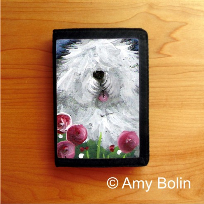 TRIFOLD WALLET · MOM'S FAVORITE FLOWER   · OLD ENGLISH SHEEPDOG    · AMY BOLIN