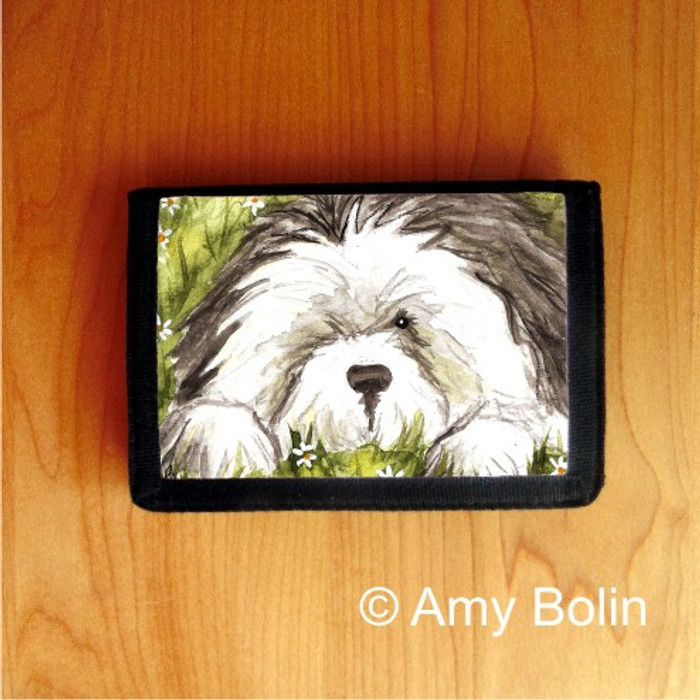 TRIFOLD WALLET · SHEEPIE IN THE DAISIES  · OLD ENGLISH SHEEPDOG    · AMY BOLIN