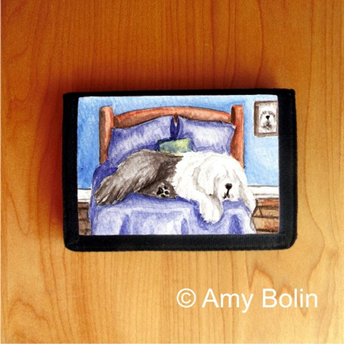 TRIFOLD WALLET · THE KING ON HIS THRONE  · OLD ENGLISH SHEEPDOG    · AMY BOLIN
