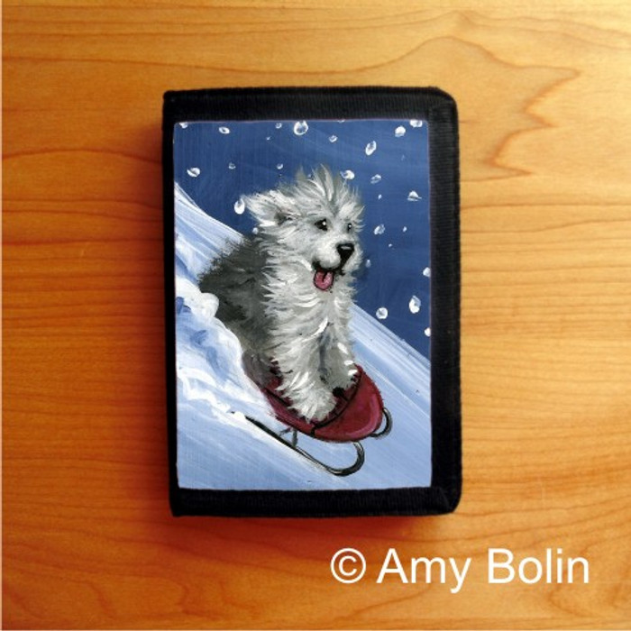 TRIFOLD WALLET · THE SLED RIDE  · OLD ENGLISH SHEEPDOG    · AMY BOLIN
