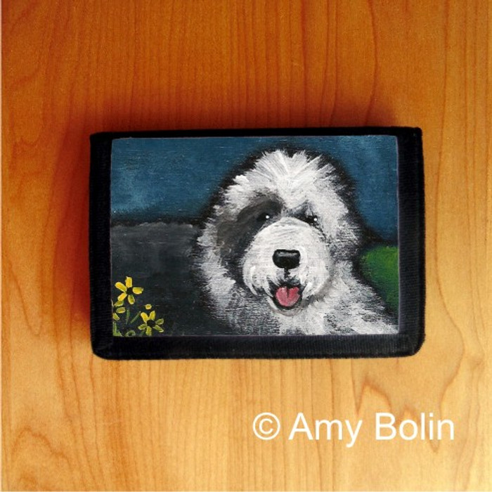 TRIFOLD WALLET · TOBY  · OLD ENGLISH SHEEPDOG    · AMY BOLIN