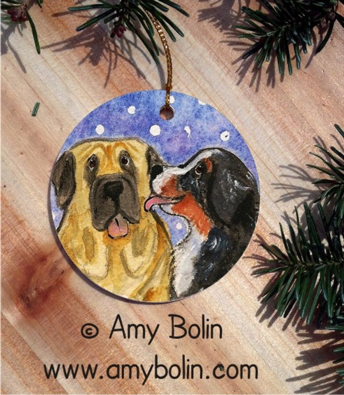 CERAMIC ORNAMENT · LITTLE KISS · BERNESE MOUNTAIN DOG, MASTIFF · AMY BOLIN