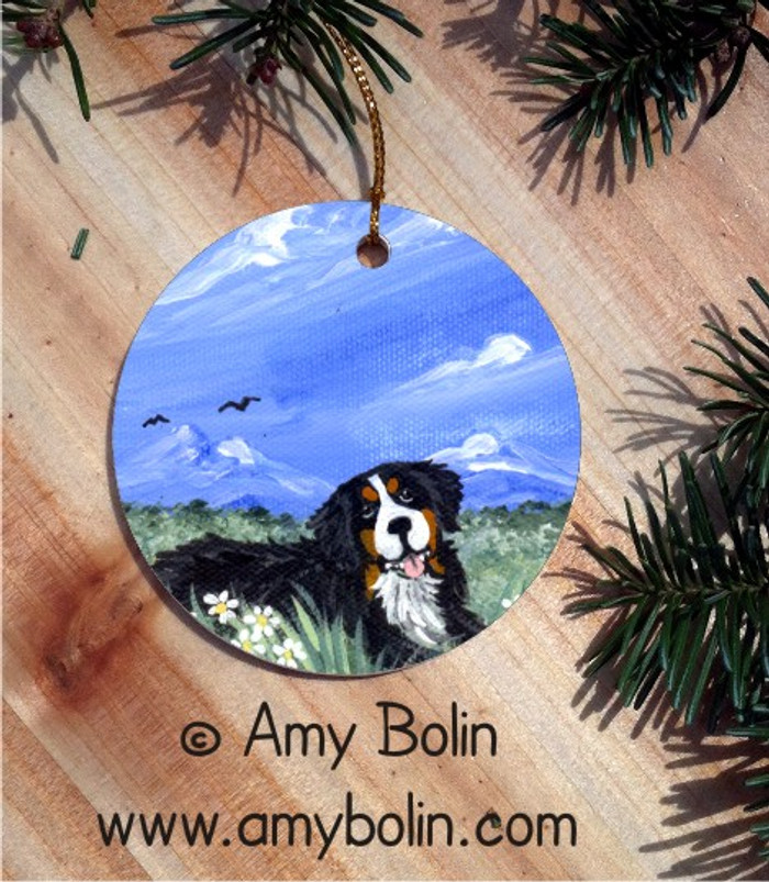 CERAMIC ORNAMENT · MOUNTAIN HOME · BERNESE MOUNTAIN DOG · AMY BOLIN