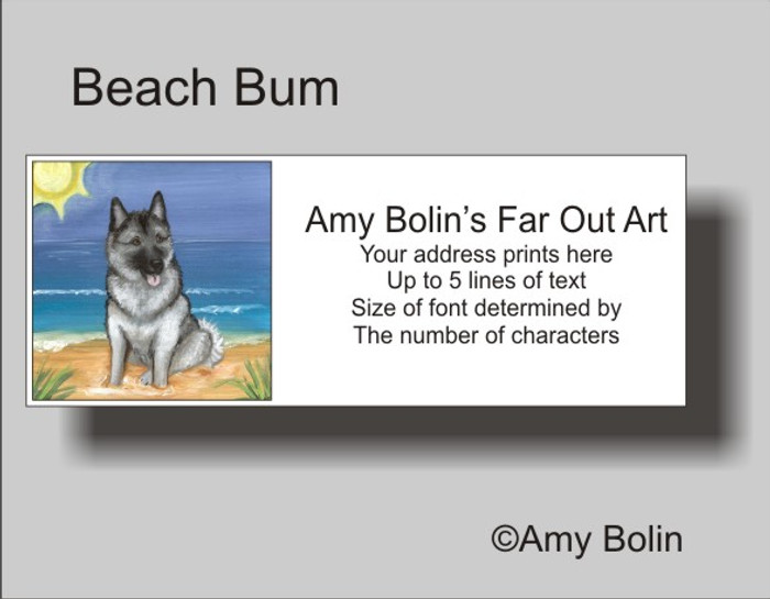 ADDRESS LABELS · BEACH BUM · NORWEGIAN ELKHOUND · AMY BOLIN