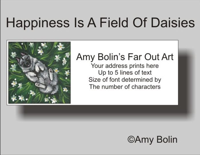 ADDRESS LABELS · HAPPINESS IS A FIELD OF DAISIES · NORWEGIAN ELKHOUND · AMY BOLIN