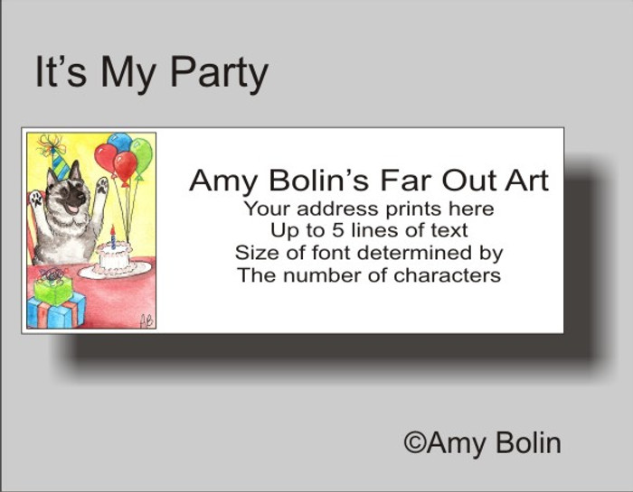 ADDRESS LABELS · IT'S MY PARTY · NORWEGIAN ELKHOUND · AMY BOLIN