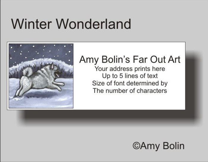 ADDRESS LABELS · WINTER WONDERLAND · NORWEGIAN ELKHOUND · AMY BOLIN