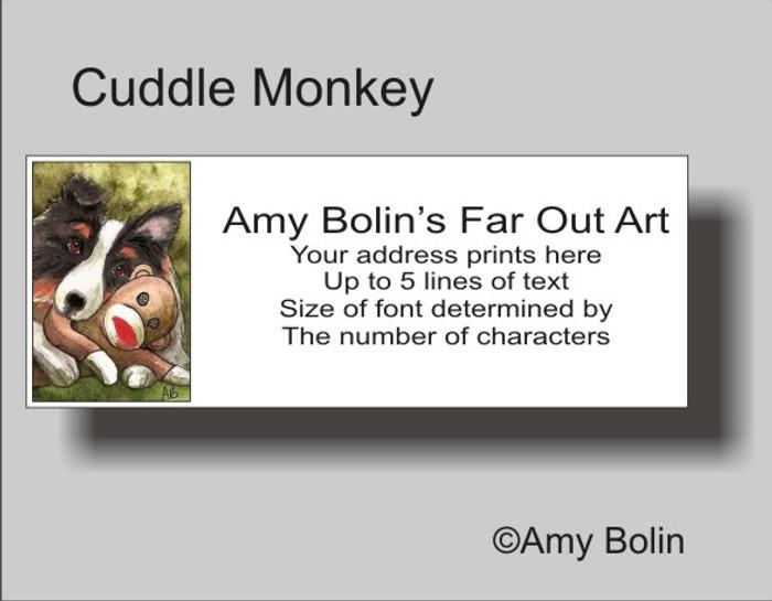 ADDRESS LABELS · CUDDLE MONKEY · TRI COLOR SHELTIE · AMY BOLIN