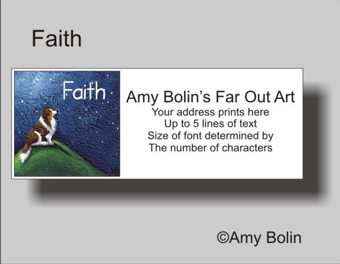 ADDRESS LABELS · FAITH · SABLE SHELTIE · AMY BOLIN