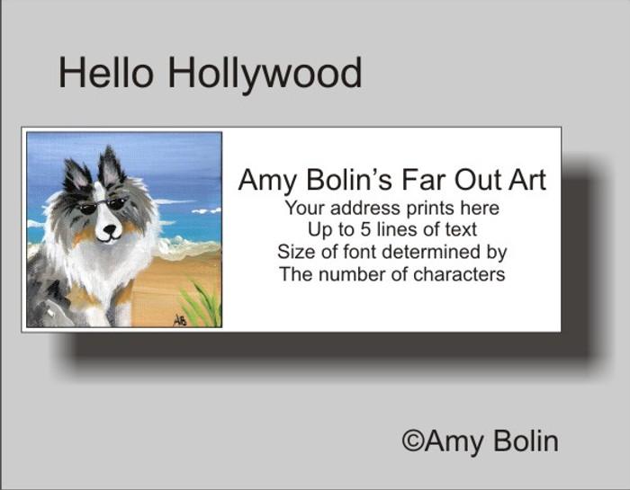 ADDRESS LABELS · HELLO HOLLYWOOD · BLUE MERLE SHELTIE · AMY BOLIN