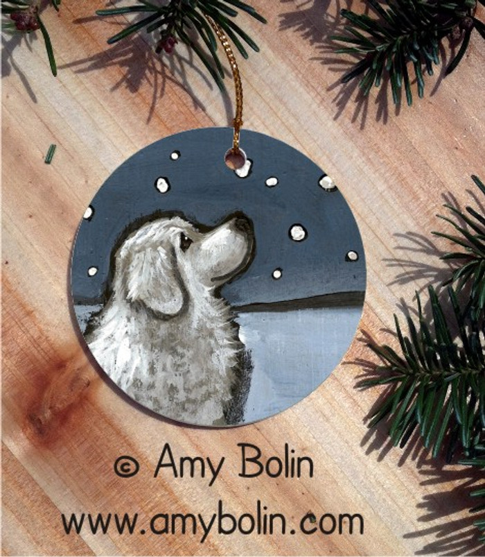CERAMIC ORNAMENT · COUNTING SNOWFLAKES · GREAT PYRENEES · AMY BOLIN