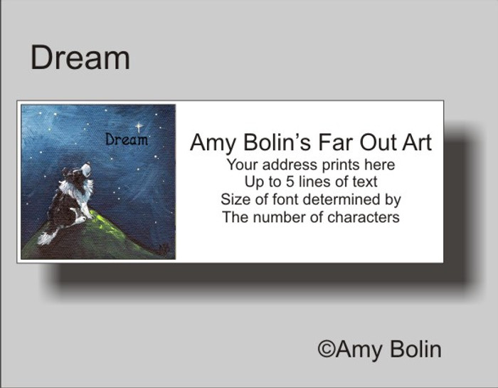 ADDRESS LABELS · DREAM · BI BLACK SHELTIE · AMY BOLIN
