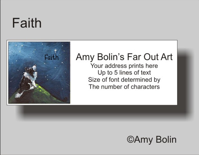 ADDRESS LABELS · FAITH · BI BLACK SHELTIE · AMY BOLIN
