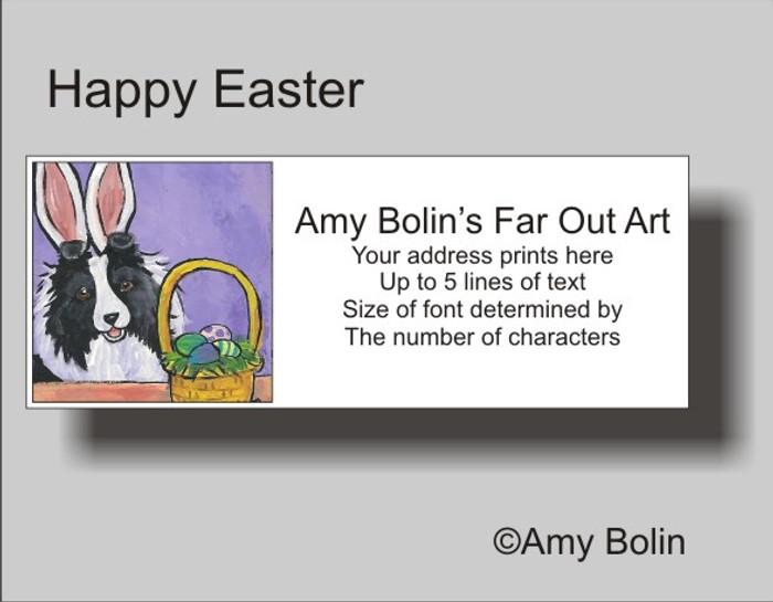 ADDRESS LABELS · HAPPY EASTER · BI BLACK SHELTIE · AMY BOLIN