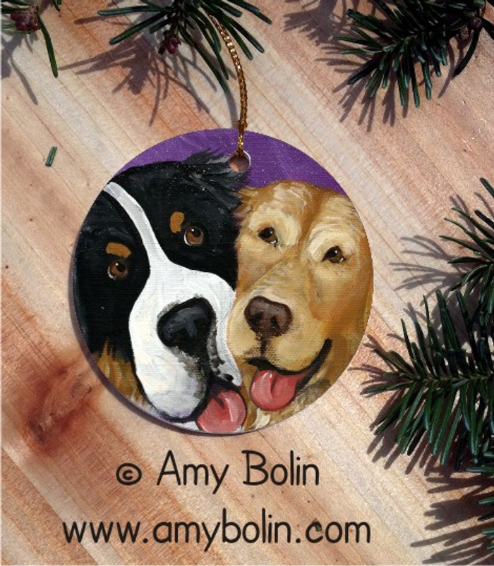 CERAMIC ORNAMENT · BE MINE · BERNESE MOUNTAIN DOG & GOLDEN RETRIEVER · AMY BOLIN