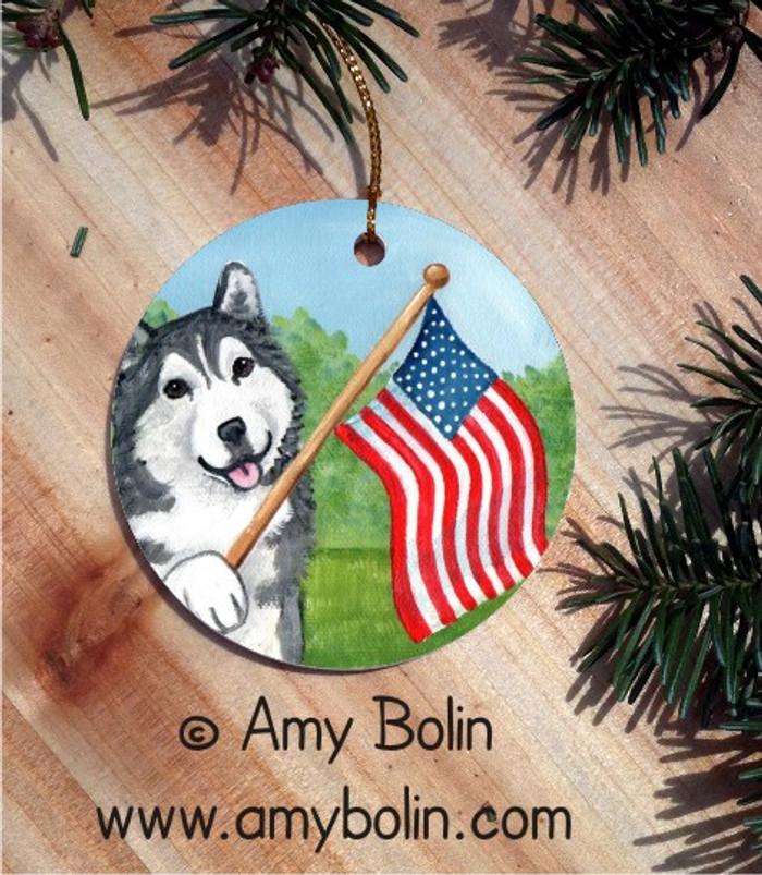 CERAMIC ORNAMENT · PROUD TO BE AMERICAN · ALASKAN MALAMUTE · AMY BOLIN