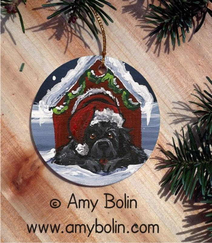 CERAMIC ORNAMENT · BELIEVE · BLACK NEWFOUNDLAND · AMY BOLIN