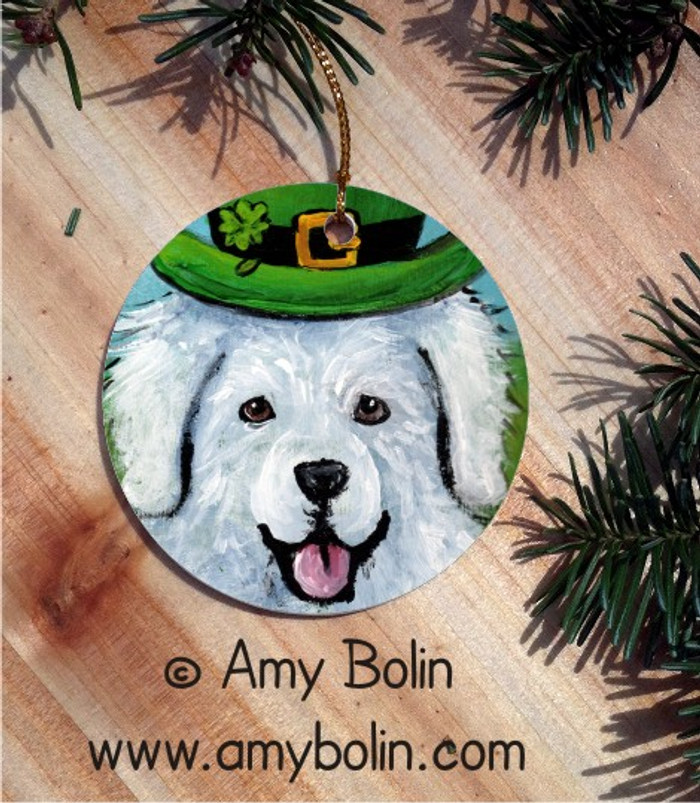 CERAMIC ORNAMENT · A BIG, WET IRISH KISS    · GREAT PYRENEES · AMY BOLIN