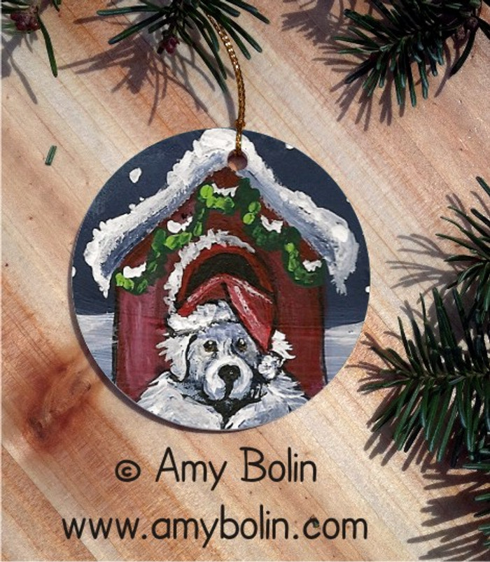 CERAMIC ORNAMENT · BELIEVE     · GREAT PYRENEES · AMY BOLIN