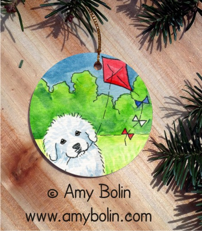 CERAMIC ORNAMENT · FLY AWAY  · GREAT PYRENEES · AMY BOLIN