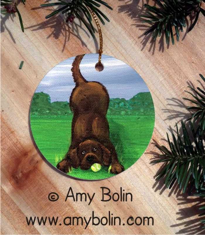 CERAMIC ORNAMENT · HAPPY LAB CHOCOLATE LAB  · LABADOR RETRIEVERS · AMY BOLIN