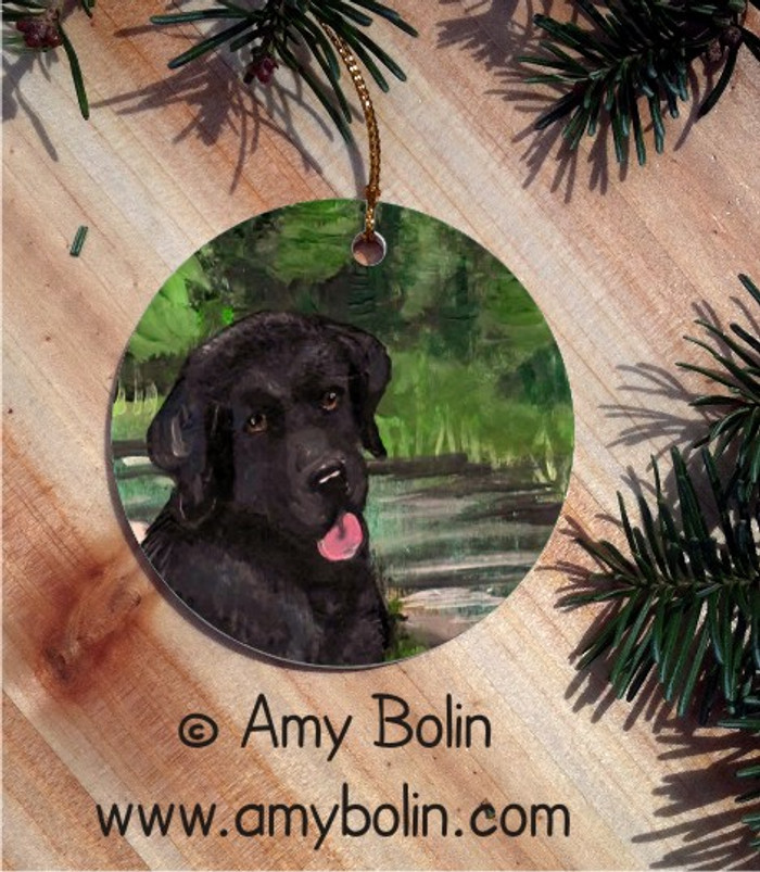 CERAMIC ORNAMENT · SAM ON THE STURGEON BLACK LAB  · LABADOR RETRIEVERS · AMY BOLIN