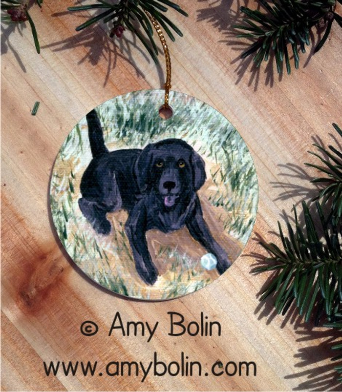 CERAMIC ORNAMENT · SHALL WE FETCH BLACK LAB  · LABADOR RETRIEVERS · AMY BOLIN