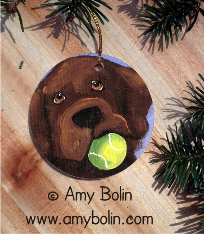 CERAMIC ORNAMENT · WANNA PLAY CHOCOLATE LAB  · LABADOR RETRIEVERS · AMY BOLIN