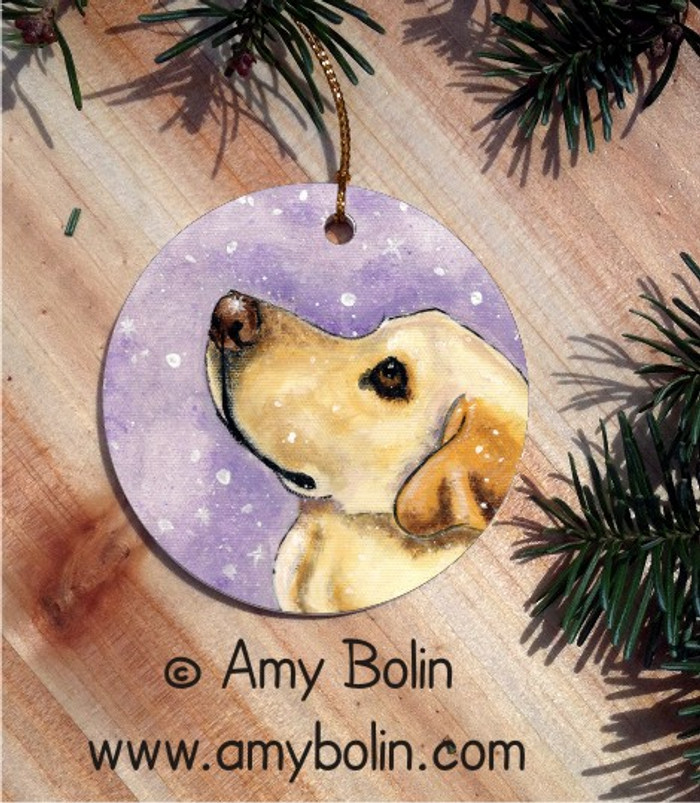 CERAMIC ORNAMENT · WISH UPON A SNOWFLAKE YELLOW LAB  · LABADOR RETRIEVERS · AMY BOLIN