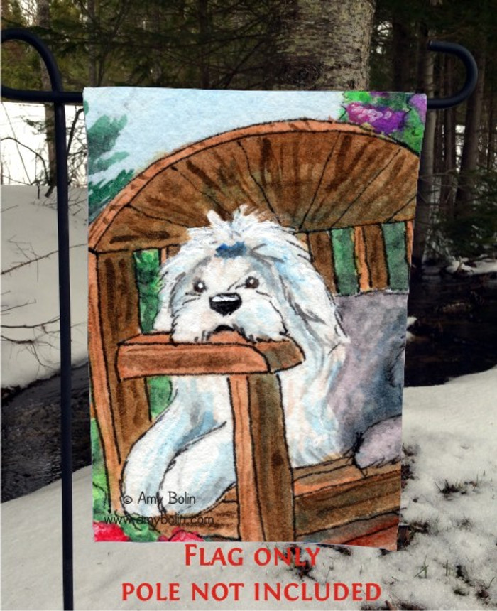 GARDEN FLAG · SUMMER'S SIMPLE PLEASURES · OLD ENGLISH SHEEPDOG · AMY BOLIN