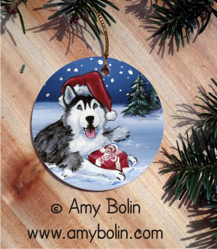 CERAMIC ORNAMENT · MERRY CHRISTMAS BLUE EYES  · SIBERIAN HUSKY · AMY BOLIN