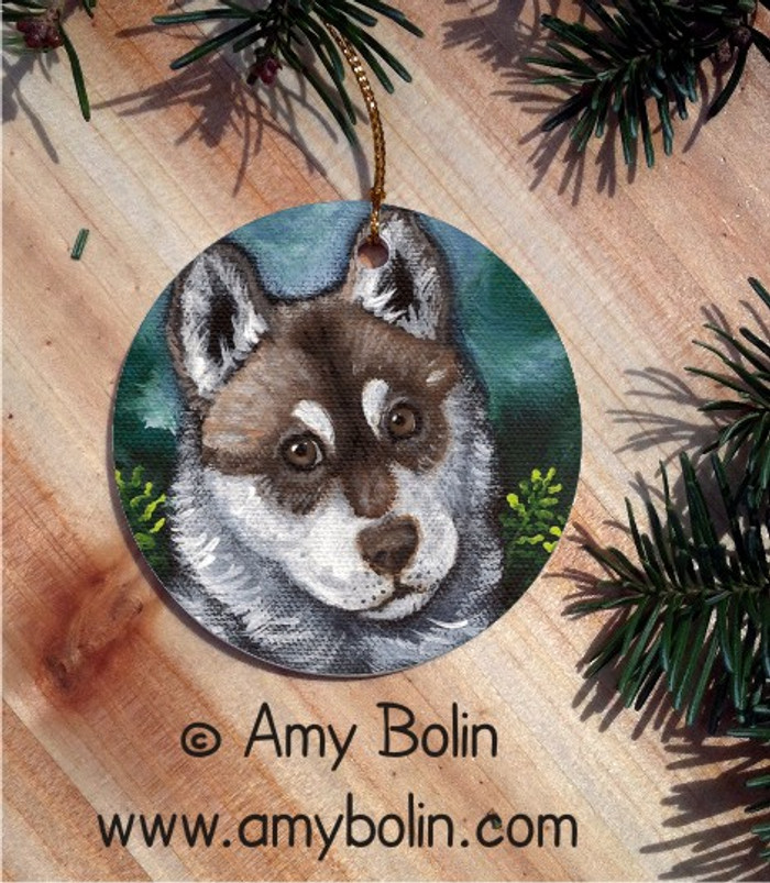 CERAMIC ORNAMENT · SUMMER IN THE WOODS  BROWN EYES   · SIBERIAN HUSKY · AMY BOLIN