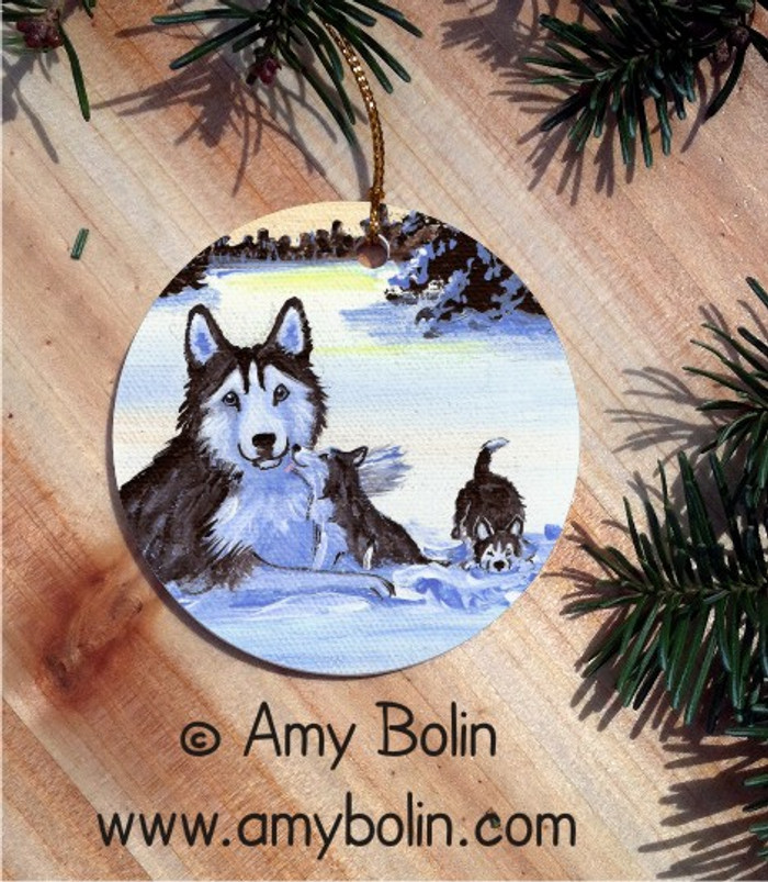 CERAMIC ORNAMENT · WINTER MORNING BLUE EYES   · SIBERIAN HUSKY · AMY BOLIN