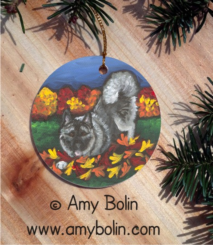 CERAMIC ORNAMENT · AUTUMN'S SIMPLE PLEASURES · NORWEGIAN ELKHOUND · AMY BOLIN