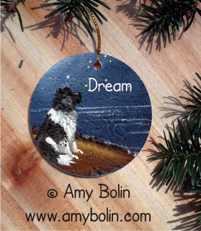 CERAMIC ORNAMENT · DREAM · LANDSEER NEWFOUNDLAND · AMY BOLIN