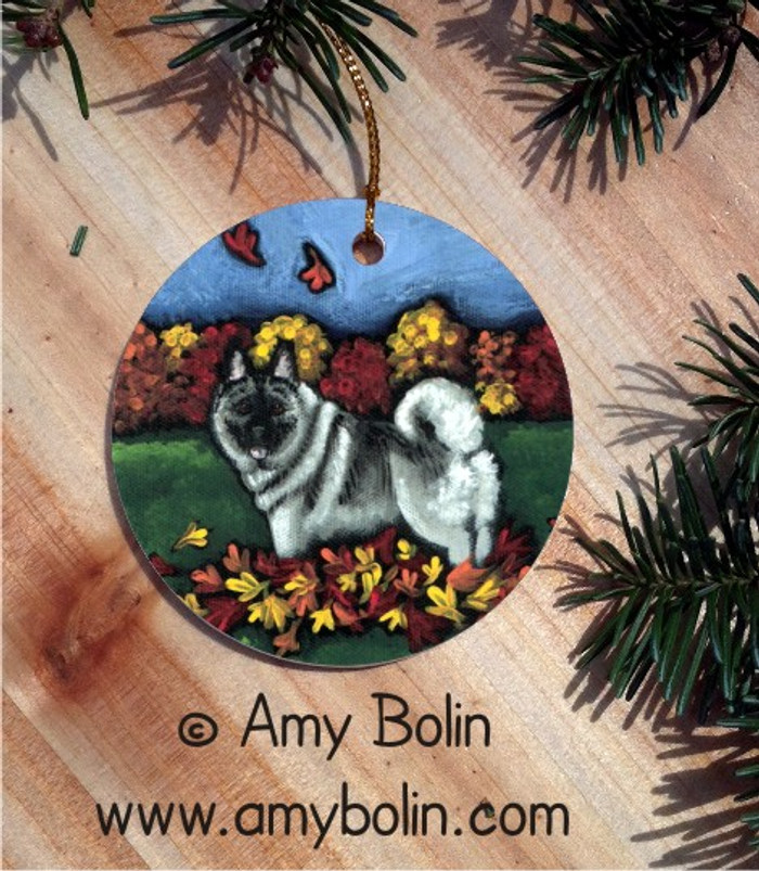 CERAMIC ORNAMENT · CHASING LEAVES · NORWEGIAN ELKHOUND · AMY BOLIN