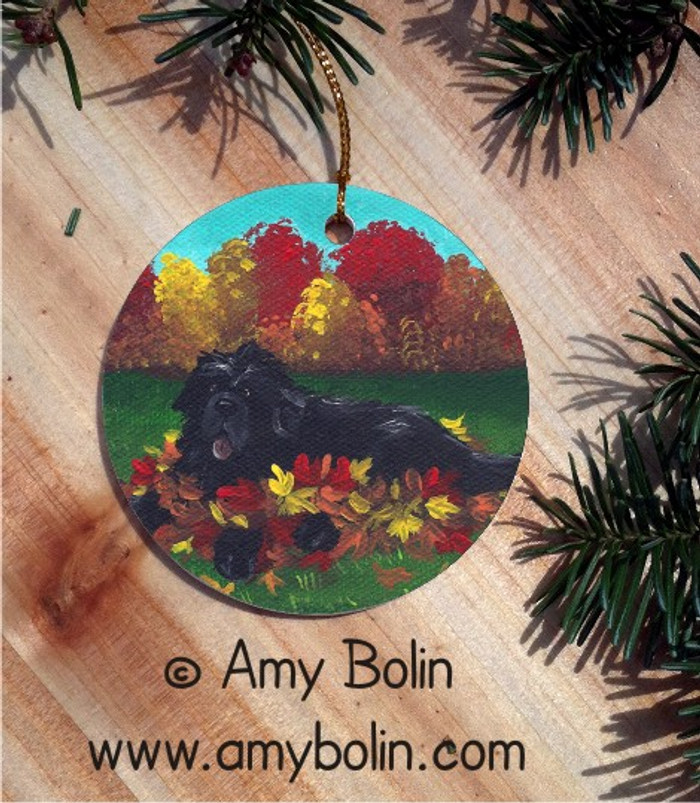 CERAMIC ORNAMENT · HAPPINESS IS A PILE OF LEAVES · BLACK NEWFOUNDLAND · AMY BOLIN