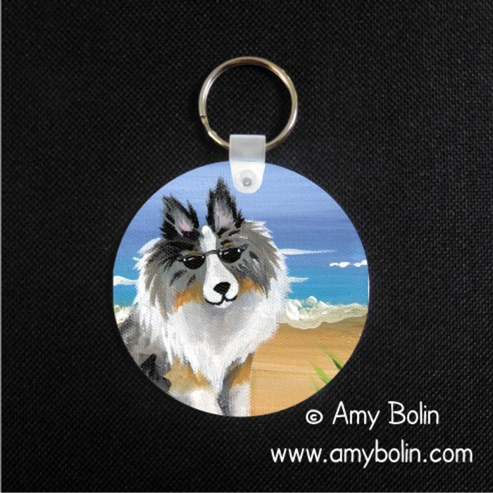 KEY CHAIN · HELLO HOLLYWOOD · BLUE MERLE SHELTIE · AMY BOLIN