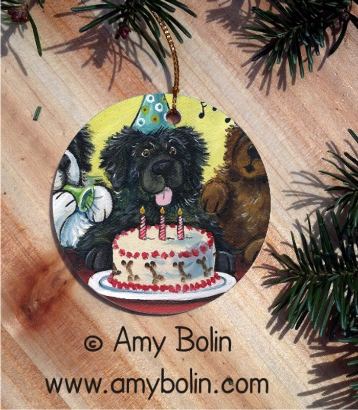 CERAMIC ORNAMENT · HAPPY BIRTHDAY TO YOU · BLACK, BROWN, LANDSEER NEWFOUNDLAND · AMY BOLIN