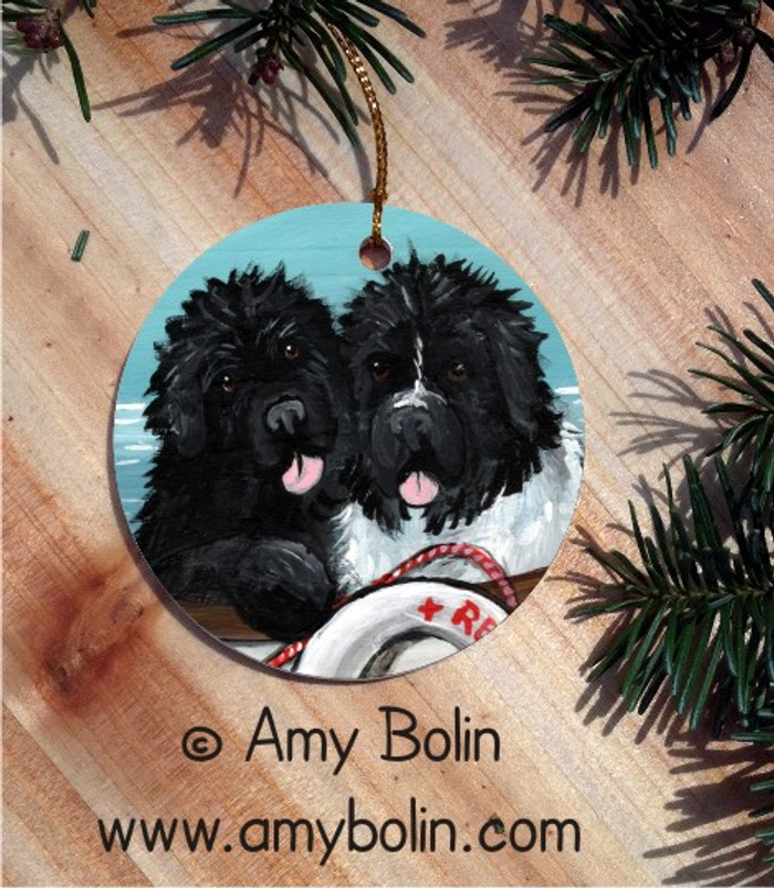 CERAMIC ORNAMENT · AHOY! · BLACK, LANDSEER NEWFOUNDLAND · AMY BOLIN