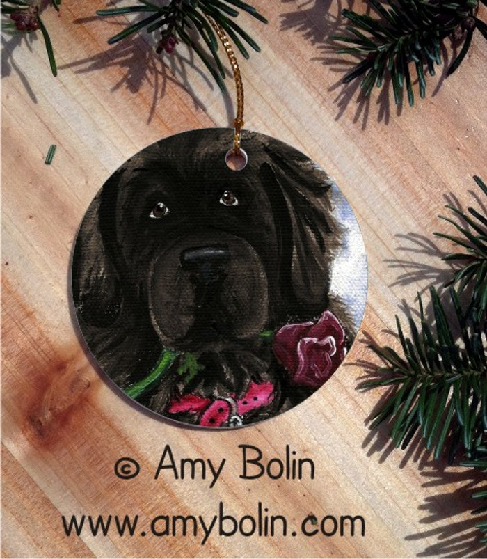 CERAMIC ORNAMENT · BE MINE · BLACK  NEWFOUNDLAND · AMY BOLIN