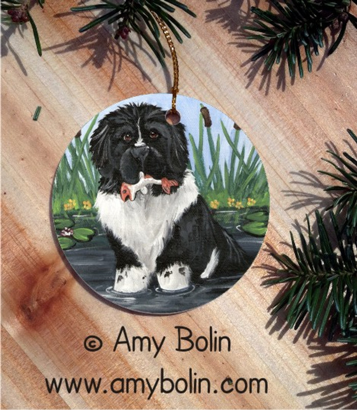 CERAMIC ORNAMENT · IN MOM'S POND · LANDSEER NEWFOUNDLAND · AMY BOLIN